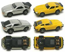 2 1970s Rare Yonezawa Motorama Japan Micro Racing <1/87 Datsun Porsche Slot Cars