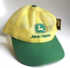 John Deere Yellow Green Patch Mesh Embroidered Trucker Snapback Hat Cap