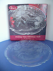 "Gibson Glass Christmas Holiday Bells Round Platter 13"" Serving Platter"