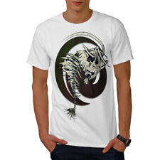 Wellcoda Fish Bone Skeleton Mens T-shirt, Tattoo Graphic Design Printed Tee