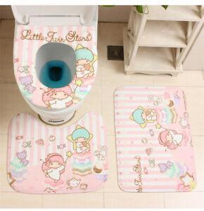 4Pcs Set Cute Little Twin Stars Toilet Seat Mat Floor Rugs Cushion Bathmats