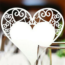 Heart Wedding Name Place Cards For Wine Glass Laser Cut On Pearlescent Card BH
