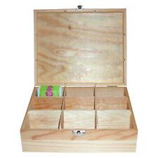 Teekiste Holz-Teebox Teekasten unbehandeltes Holz 6 Fächer Teedose