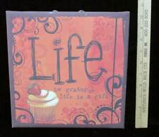 """Canvas """" Life """" Wall Hanging Picture Cupcake Be Grateful Life is A Gift  10"""""""
