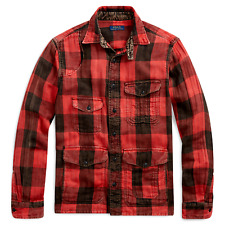 Polo Ralph Lauren Men Vtg Distressed Buffalo Red Plaids Tartan Work Shirt Jacket
