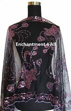 Elegant Oblong Lace Floral Art Scarf Wrap w/ Sequins & Fringes, Black/Purple