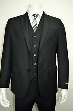 Men's Black 3 Piece 2 Button Slim Fit Suit SIZE 46R NEW