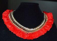 18K Gold Plate RED Collar Spray NEcklace Tassel spray Necklace Designer