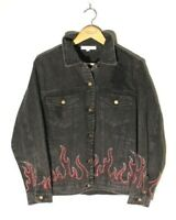 New Honey Punch Women's Large Jean Jacket Flames Distressed Black Jacket Rocker