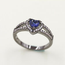 TOP Size7 Rare Blue Crystal 18K Black Gold Filled Man's Fashion Solitaire SL02
