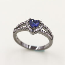 Gold Filled Man's Fashion Solitaire Sl02 Top Size7 Rare Blue Crystal 18K Black