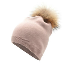 Womens Winter Cashmere Wool Beanie Skull Hat Knitted Fur Pom Pom Winter Cap A392