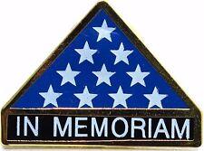 IN MEMORIAM FOLDED FLAG Military Veteran Hero Hat Pin