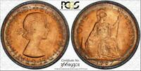 1967 GREAT BRITAIN ONE PENNY BU PCGS MS65RD CIRCLE TONED NONE GRADED HIGHER