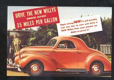 1939 WILLYS 35 MPG CAR DEALER ADVERTISING POSTCARD COPY