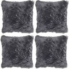 "4 x Long Pile Super Soft & Cuddly Shaggy 17x17"" 43x43cm Cushion Cover (Charcoal)"