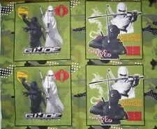 "4- 16""x 16"" GI Joe/ Snake Eyes  ""The Rise of Cobra""  Cotton Pillow Fabric Panels"