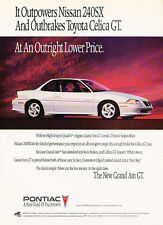 1992 Pontiac Grand Am GT - white - Classic Vintage Advertisement Ad H09