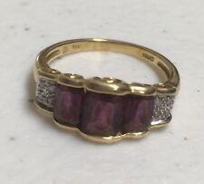 14kt 14k  Gold Triple Amethyst & Diamond Chips Ring