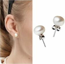 Cute Pearl Earrings Round 6mm 925 Sterling Silver Stud Studs Women Gift Fashion