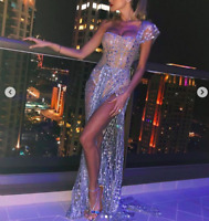 Sheer drape bodysuit maxi dress off the shoulder grecian style celeb dress prom