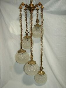 Vintage Swag Hanging Pendant Light Regency Chandelier Fixture Newly Rewired