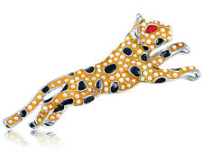 Crystal Elements Orange Painted Prowling Leopard Fashion Pin Brooch
