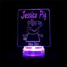 Peppa Pig Personalised Name:  Baby Children's Night Light Colour Changing Lamp