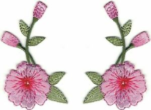 Pair of Long Pink Carnation Flower Floral Embroidery Patch