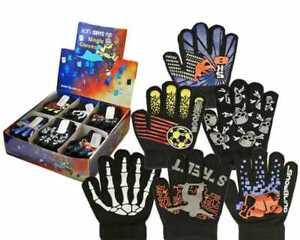 New Boys Kids Magic Fun Sports Skeleton Designs Gripper Winter Gloves Xmas Gift