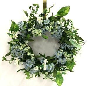 "Hydrangea Wreath~Mixed Foam Foliage, Berries~Blue,Cream,Gr~Silk/Artificial~20"""