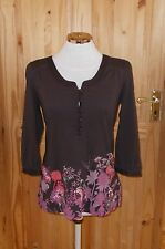 MONSOON chocolate brown pink green floral embroidered 3/4 sleeve tunic top 12 40
