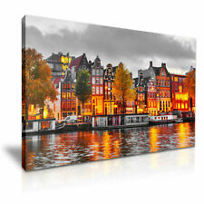 AMSTERDAM CITY PICTURE PRINT CANVAS WALL ART VARIOUS SIZES