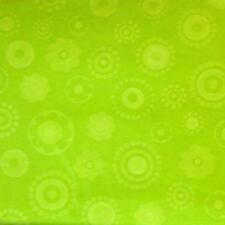 52x70 Oblong~Vinyl Flannel Back Tablecloth~Flowers & Circles~Green~New with Tags
