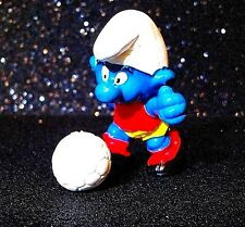 Vtg Peyo Schleich RARE SMURF TOY Action Figure 1978 Soccer Football Ball Player