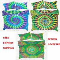 Tie Dye Mandala Boho Quilt Cover Indian Hippie Queen Size Duvet Doona Cover Set