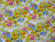 2 SHEETS OF GOOD QUALITY THICK GLOSSY FLORAL WRAPPING PAPER (daffodils, tulips )