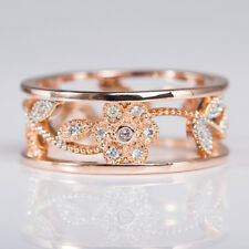 18 K Rose Gold Plated Gorgeous Jewelry White Sapphire Wedding Ring Size 6-10