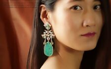 Costume Fashion Earring Stud Gold Mini Peal Huge Chandelier Jade Imi Retro X11