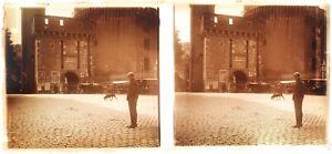 FRANCE Bordeaux région Porte Notre Dame Photo Plaque Stereo Vintage c1920