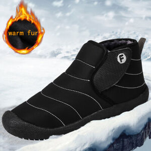 Winter Men's Waterproof Warm Ankle Boots Outdoor Snow Fur Lined Slip on Shoes