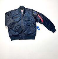 Mens Navy Blue Aviator Military Bomber Jacket Heavy Duty Full Zip Sweater