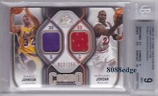 2009-10 SPGU COMBO MATERIALS: MAGIC JOHNSON/MICHAEL JORDAN #13/155 SWATCH BGS 9