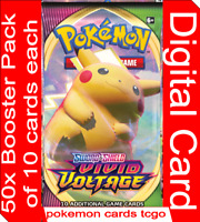 50x Vivid Voltage Codes Booster Packs +GIFT / Pokemon TCG Online In Game Digital