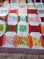 Vintag 60s 70s 80s Spool Bow Tie Pattern Patchwork Floral Quilt Mid Century Mod