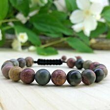 Bracelet tressé Perles Naturelles Jaspe Picasso  -  Tibétain