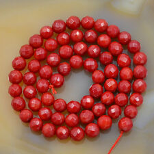 "6mm Faceted Coral Round Gemstone Beads 15.5"" Pick Color"