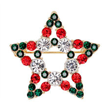 Great Star Crystal Rhinestone Snowman Christmas Brooch Pin Xmas Gift EP@