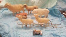 VINTAGE GROUP OF 7 ANIMAL CELLULOID TOYS JAPAN 50's. RAM, BEAR, REINDEER, DOG