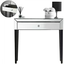 Silver Mirrored Dressing Table With Crystal Handle Bedroom Desk Vanity Furniture